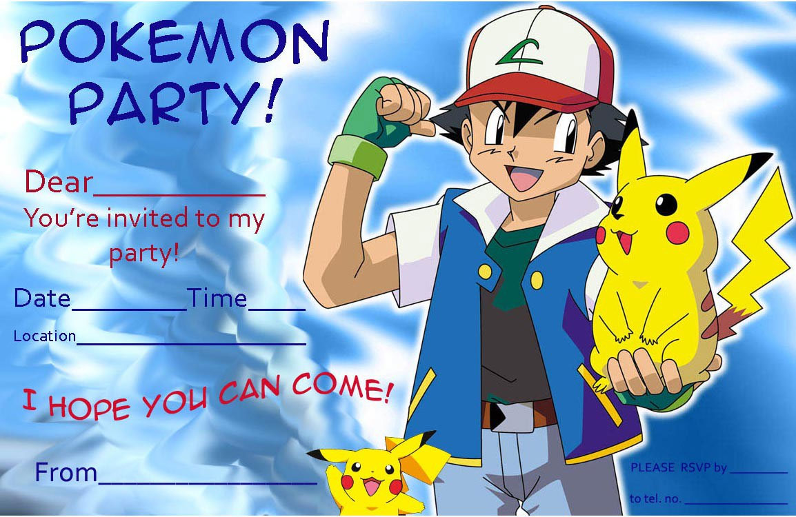pokemon birthday party invitation template ; Free-Printable-Ash-and-Pikachu-Birthday-Invitation