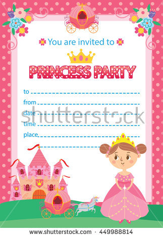 princess birthday template ; stock-vector-princess-birthday-party-invitation-template-card-449988814