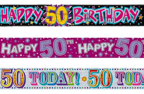 purple 50th birthday banners ; 50th-Birthday-party-banners