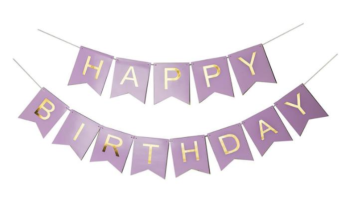 purple 50th birthday banners ; Co-Happy-Birthday-Banner-Purple-and-Gold-Foil-Letters-Birthday-Decorations-for-Girls