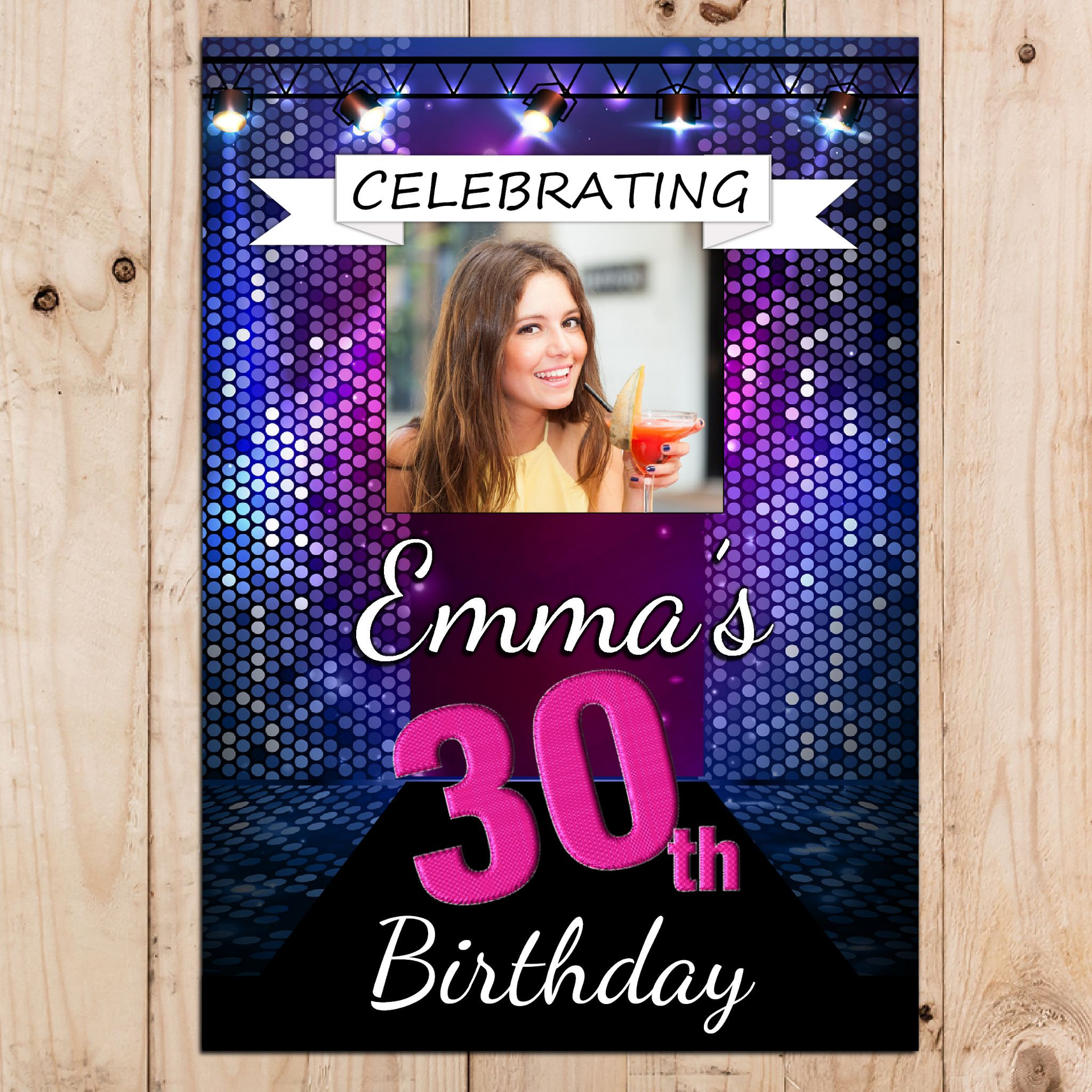 purple 50th birthday banners ; personalised-disco-bokeh-happy-18th-21st-30th-40th-50th-birthday-party-photo-banner-poster-n56-any-age--size-a3-29
