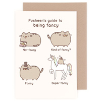 pusheen birthday card uk ; greeting_pusheen_being_fancy_1_200