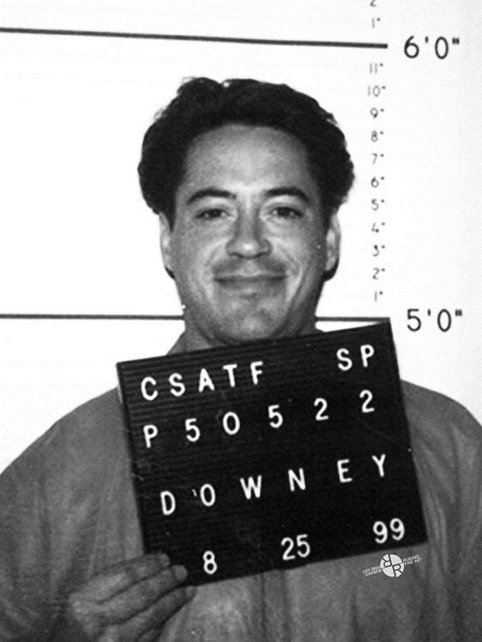 robert downey jr birthday card ; robert-downey-jr-mug-shot-1999-black-and-white-tony-rubino