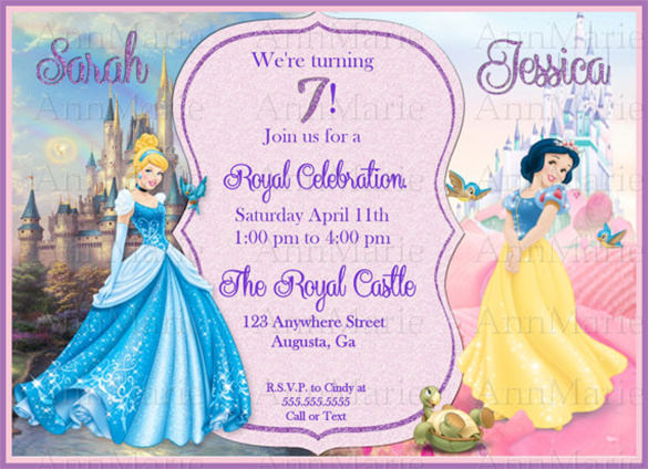 sample invitation for 7th birthday princess ; Cinderella-and-Snow-White-Inspired