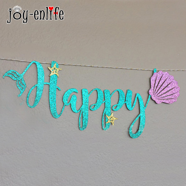 shell birthday banner ; HAPPY-BIRTHDAY-Garland-Mermaid-Party-Decoration-Cardboard-Blue-Letter-Purple-Shell-Banner-Ocean-Baby-Shower