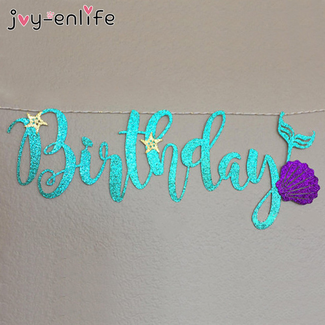 shell birthday banner ; JOY-ENLIFE-1set-Glitter-Blue-Happy-Birthday-Mermaid-Shell-Garland-Banner-Baby-Shower-Birthday-Decor-Girl