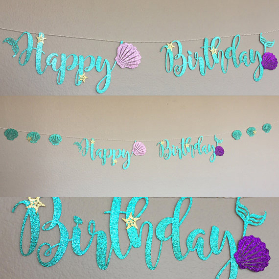 shell birthday banner ; Mermaid-Party-Decoration-Glitter-Cardboard-Blue-Letter-Garland-HAPPY-BIRTHDAY-Purple-Shell-Banner-Ocean-Birthday-Decoration