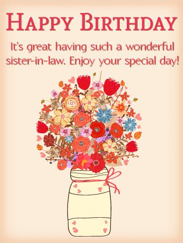 sister birthday poster ; birthday-cards-for-sister-in-law-beautiful-bouquet-happy-birthday-card-for-sister-in-law-birthday-templates