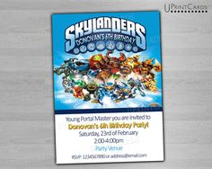 skylander birthday card template ; 4a84f00a9f33d8907a2ccb7e9b970be4--digital-invitations-skylanders