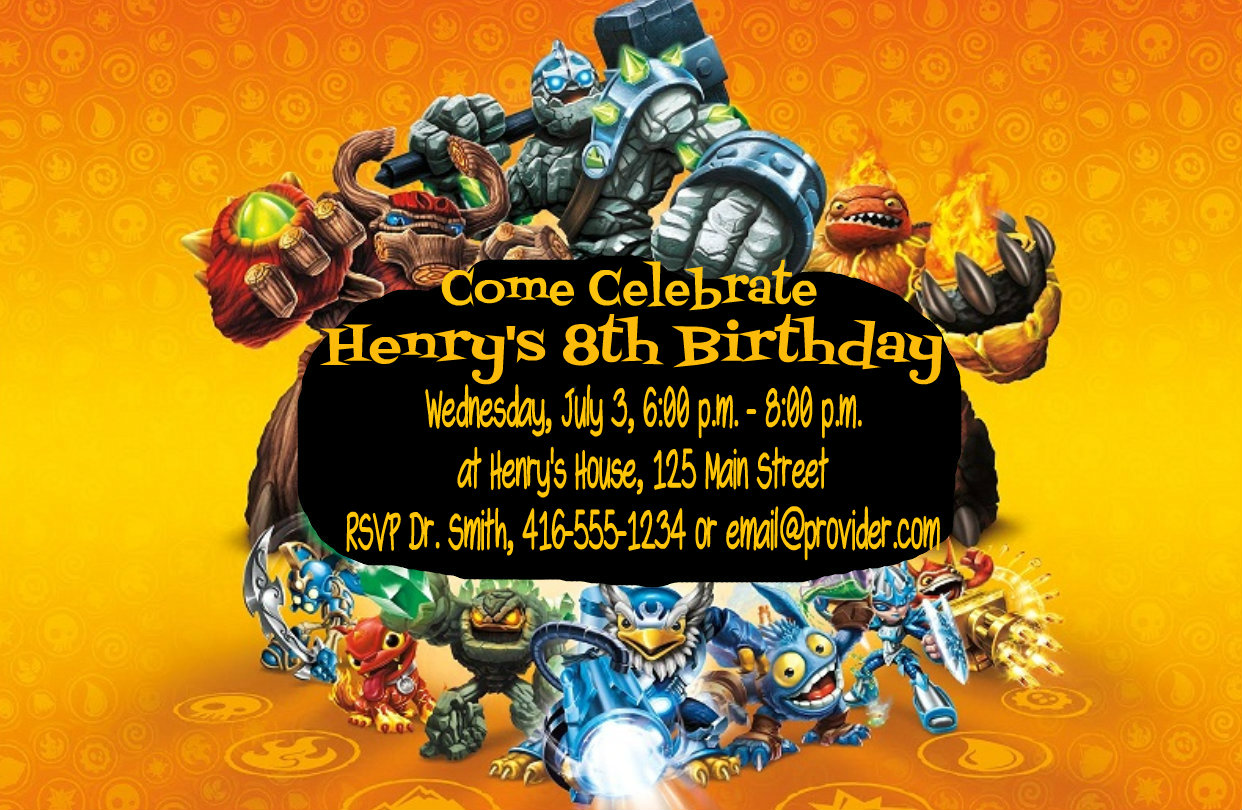 skylander birthday card template ; diyskylandersbirthdayinviteexample