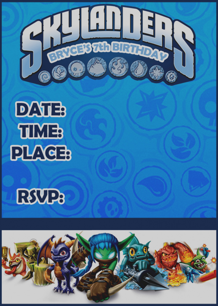 skylander birthday card template ; new-of-skylanders-birthday-invitations-template-party-need-help-for-a-the-dis