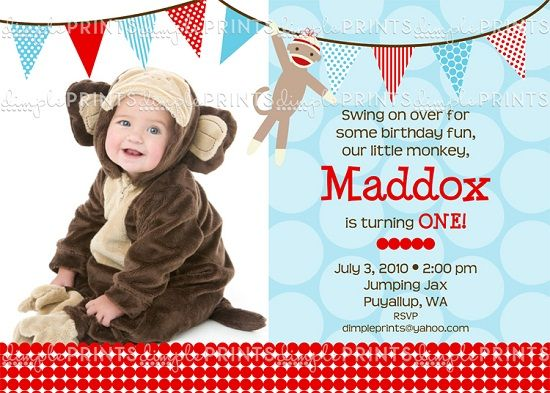 sock monkey birthday invitation template ; 45dd43353bbceee2503d36cf7ea96b9e