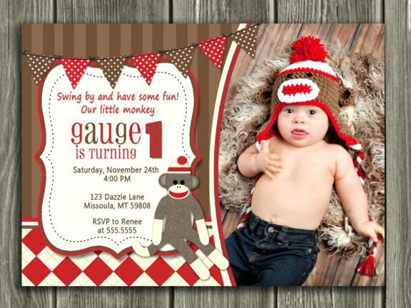 sock monkey birthday invitation template ; girl-sock-monkey-birthday-invitations-printable-boy-invitation-party
