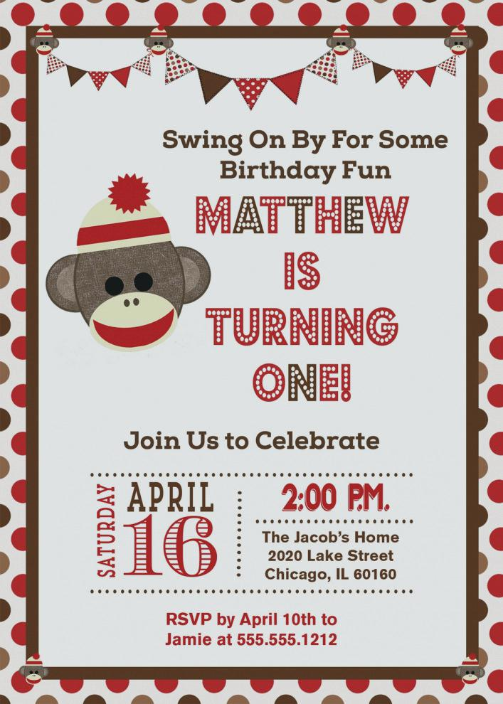 sock monkey birthday invitation template ; miss-sock-monkey-birthday-invitations-great-of-invitation-amazing