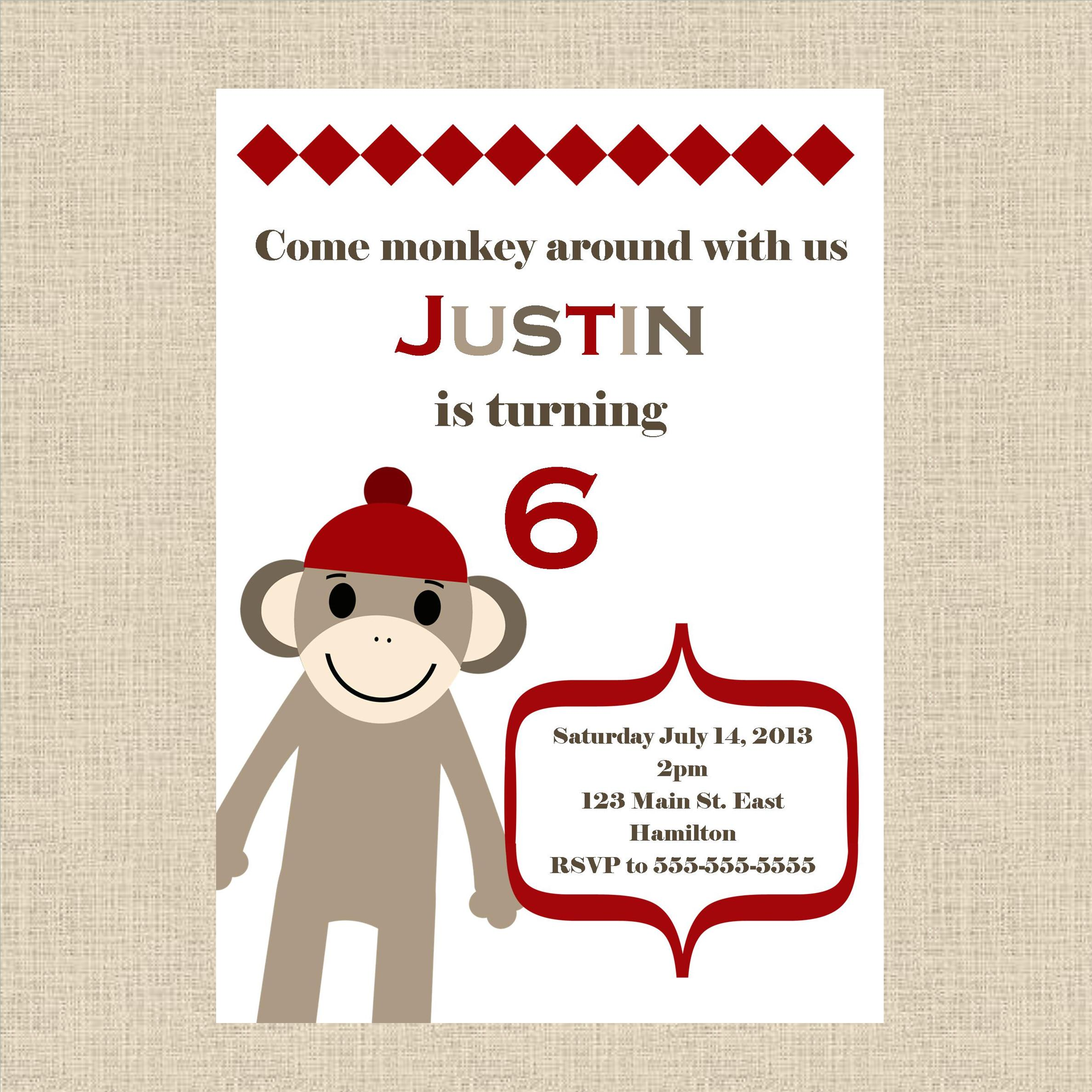 sock monkey birthday invitation template ; product-original-11641-1162-1327786911-fe55f449ac195fcb5a354592f7d60ea5