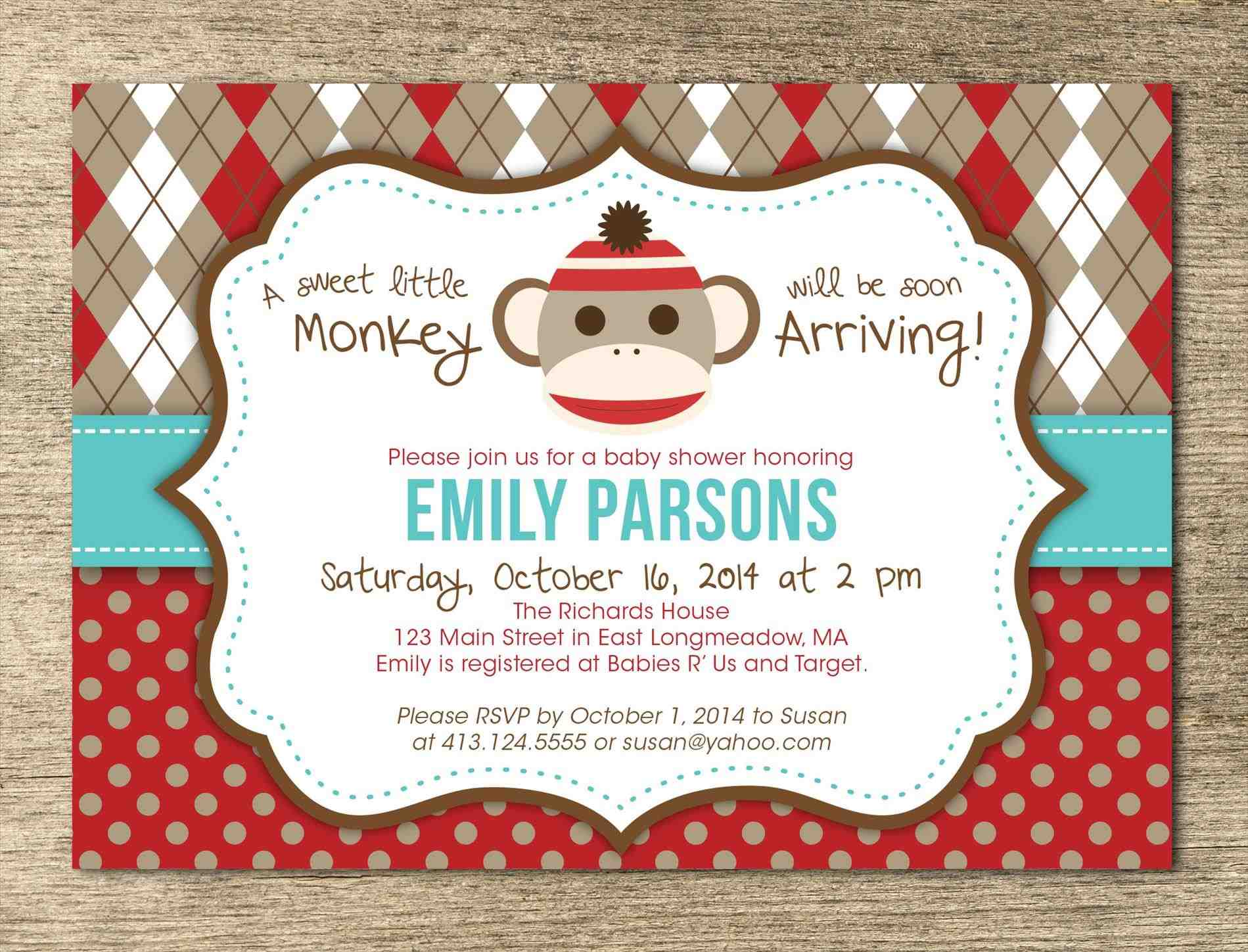 sock monkey birthday invitation template ; sock-Sock-Monkey-Invitation-Template-monkey-baby-shower-invitation-template-theruntimecom-birthday-invitations-haskovome-sock-Sock-Monkey-Invitation-Template-monkey