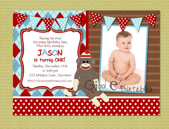 sock monkey birthday invitation template ; sock-monkey-birthday-invitations-printables