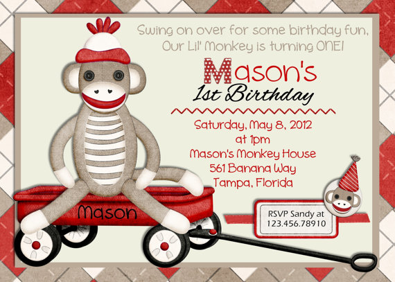 sock monkey birthday invitation template ; sock-monkey-birthday-invitations-unique-design-of-magnificent-Birthday-invitations-12