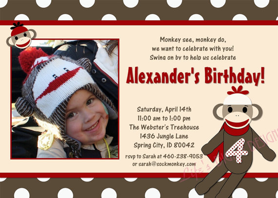 sock monkey birthday invitation template ; sock-monkey-birthday-invitations-wording