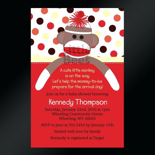 sock monkey birthday invitation template ; sock-monkey-first-birthday-invitations-baby-shower-sweet-printable-or-markets