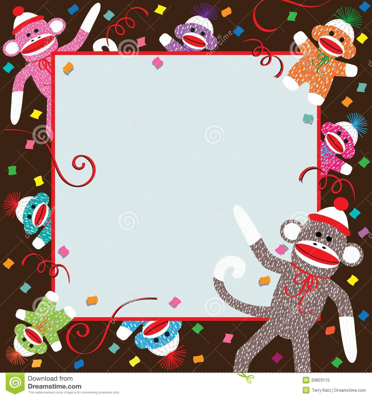sock monkey birthday invitation template ; sock-monkey-party-invitation-20823115
