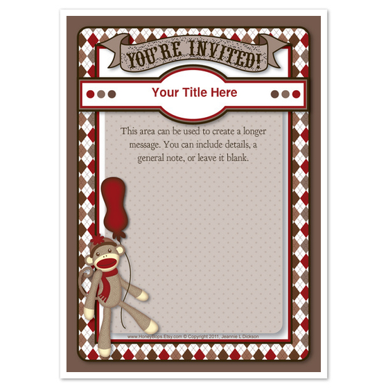 sock monkey birthday invitation template ; sock_monkey_invitation_template