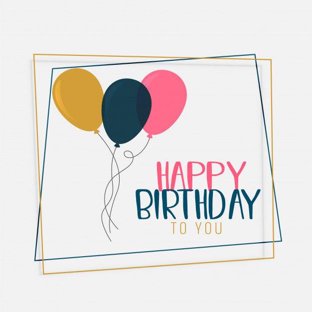 special birthday card design ; happy-birthday-card-design-with-flat-color-balloons_1017-12750