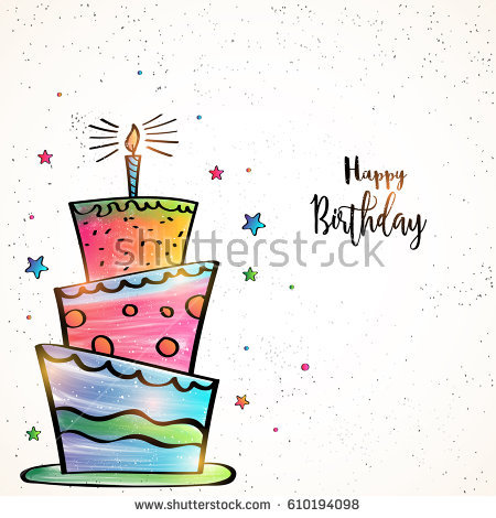 special birthday card design ; stock-vector-happy-birthday-card-design-with-hand-drawn-colorful-big-cake-and-stars-decoration-610194098
