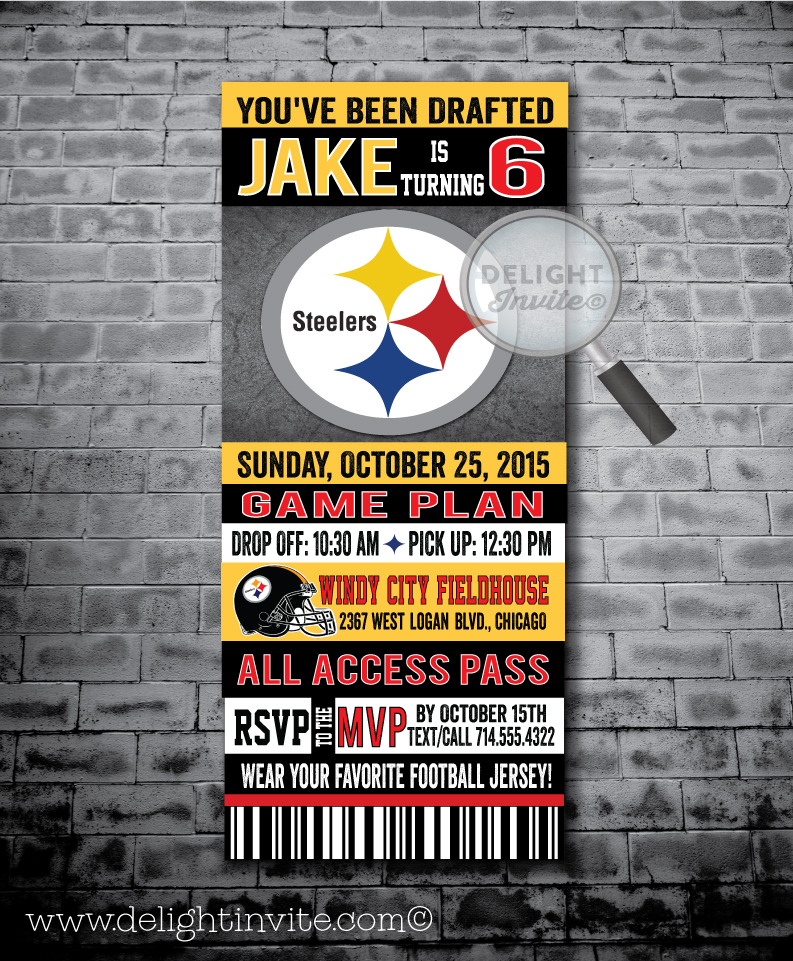 steelers birthday card ; pittsburg_steelers_football_ticket_invitations