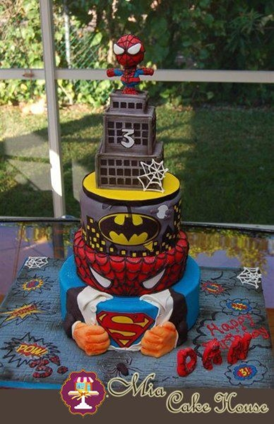 superman design for birthday party ; 900_866284ZsfR_my-son-wanted-3-different-cakes-for-his-birthday-party-spiderman-batman-and-superman-we-decided-to-design-a-cake-that-includes-his-three