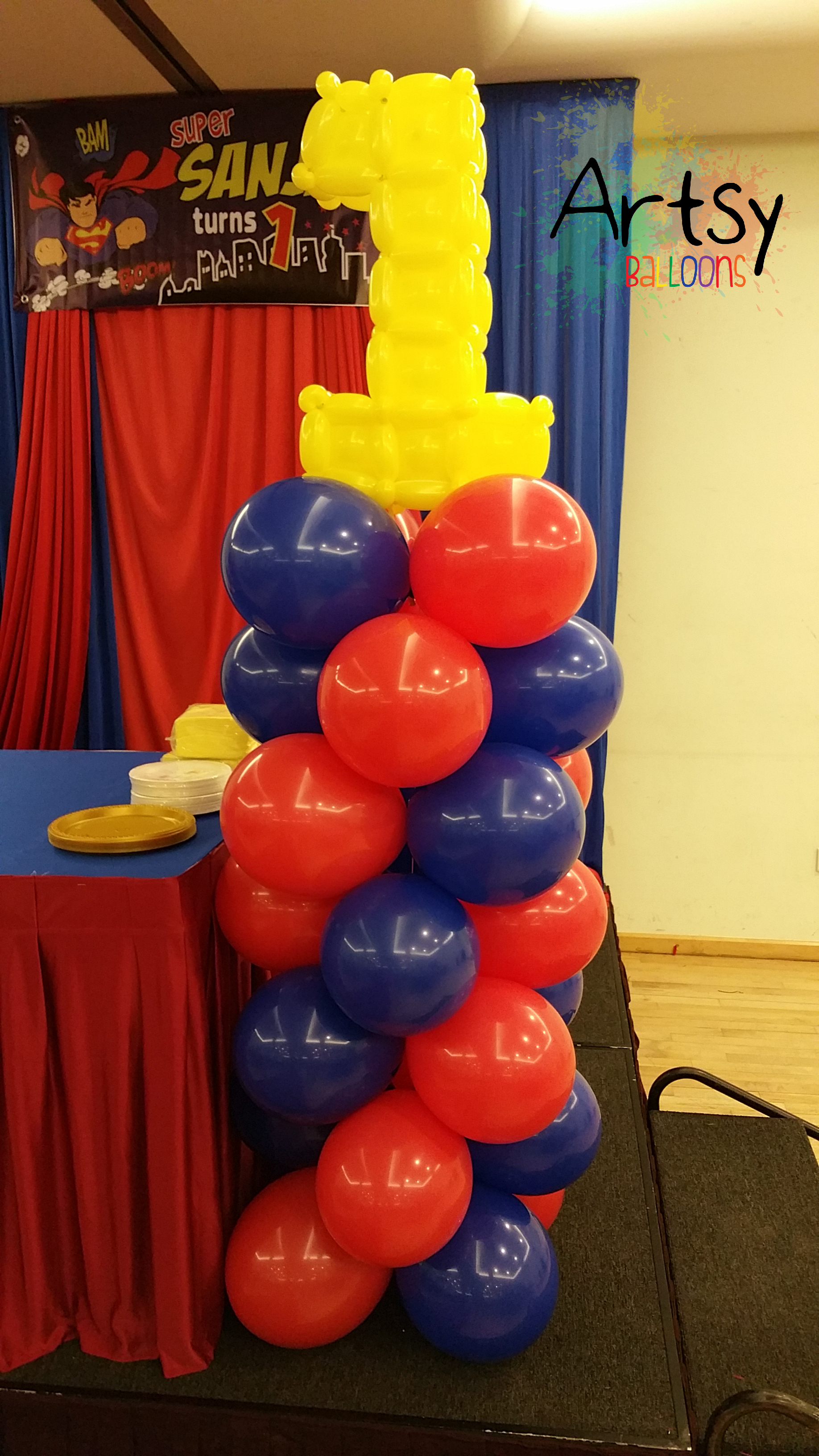 superman design for birthday party ; balloon-columns-with-number-11