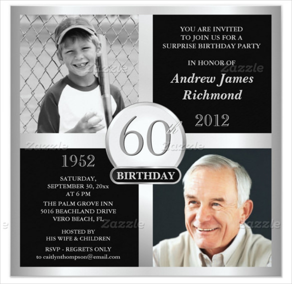 surprise 60th birthday invitation templates ; 60th-Birthday-Invitations-With-Custom-Two-Photograph