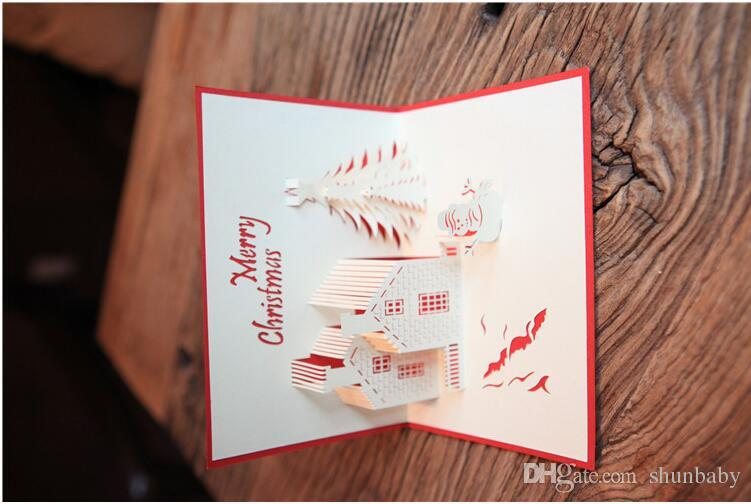surprise holiday birthday card ; handmade-3d-pop-up-holiday-greeting-cards