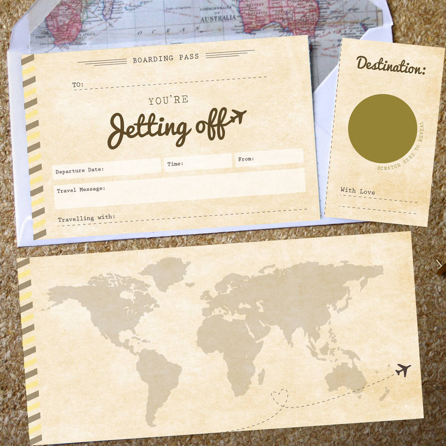 surprise holiday birthday card ; original_you-re-jetting-off-scratch-off-boarding-pass
