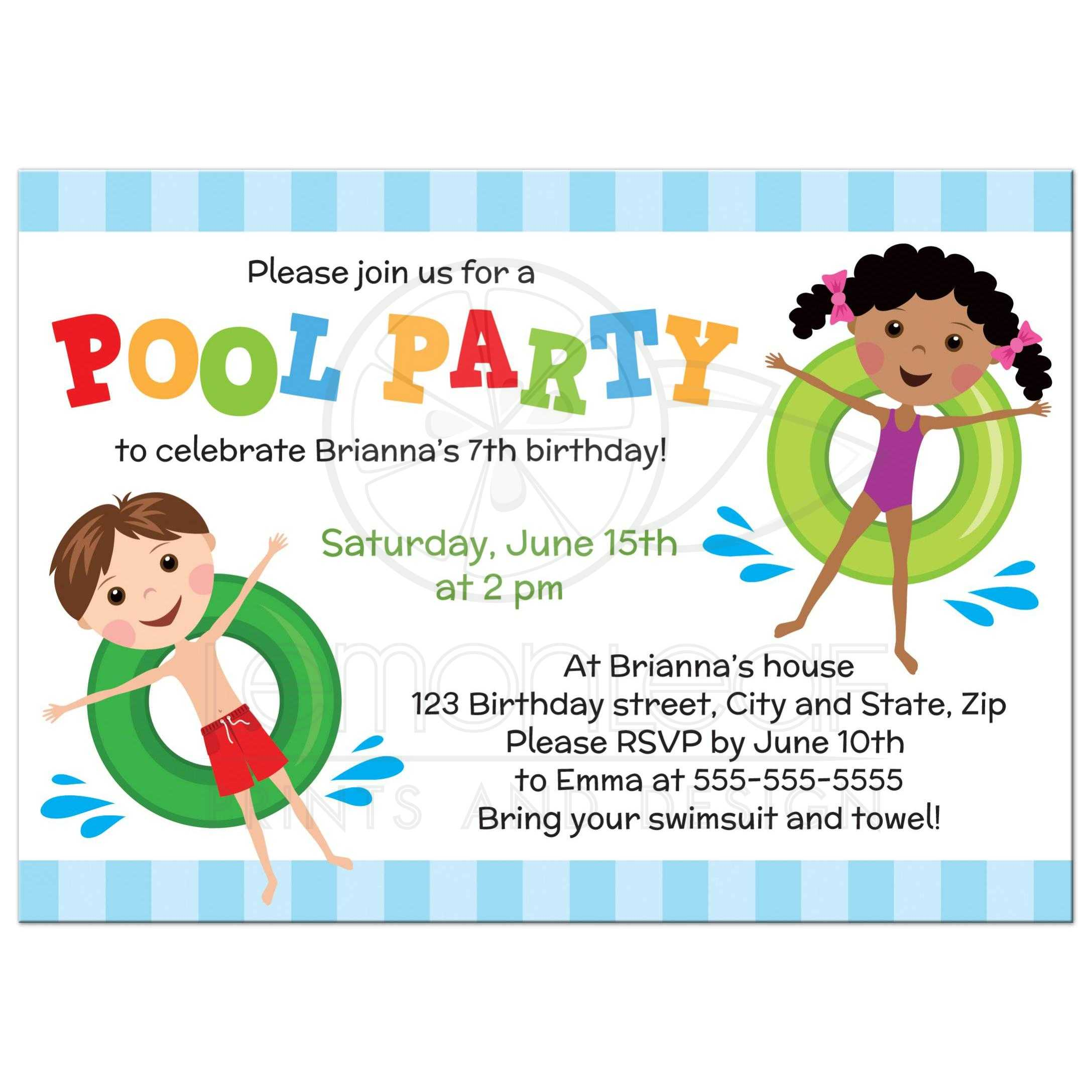 swimming birthday party invitation ideas ; 24919_Rectangle_Front_Cute_brunette_boy_and_african_american_girl_on_inflatable_rings_pool_party_invitation_for_kids
