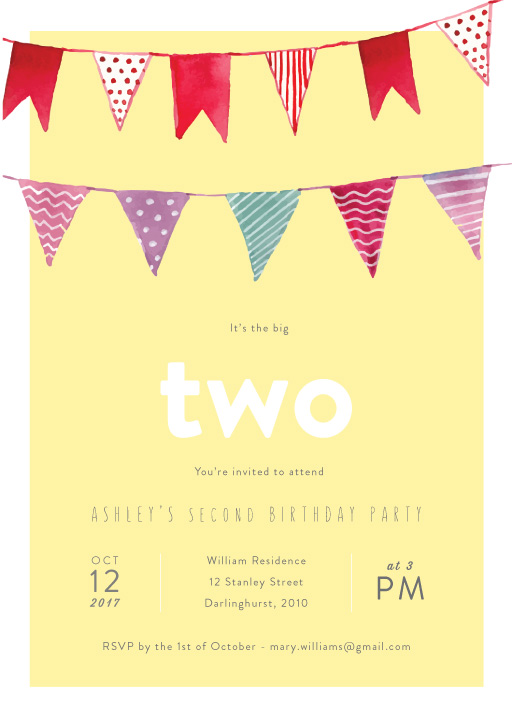 terrible two birthday invitation wording ; bunting-yellow-portrait-178mmx127mm-2nd