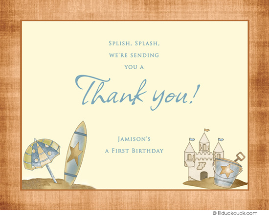 thank you note for birthday card ; Beach-blue-Thank-you-front-birthday-sandcastle