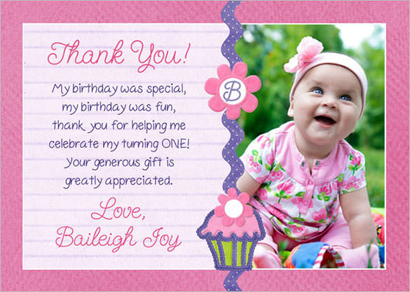 thank you note for birthday card ; Pink-Colour-Birthday-Thank-You-CardTemplate