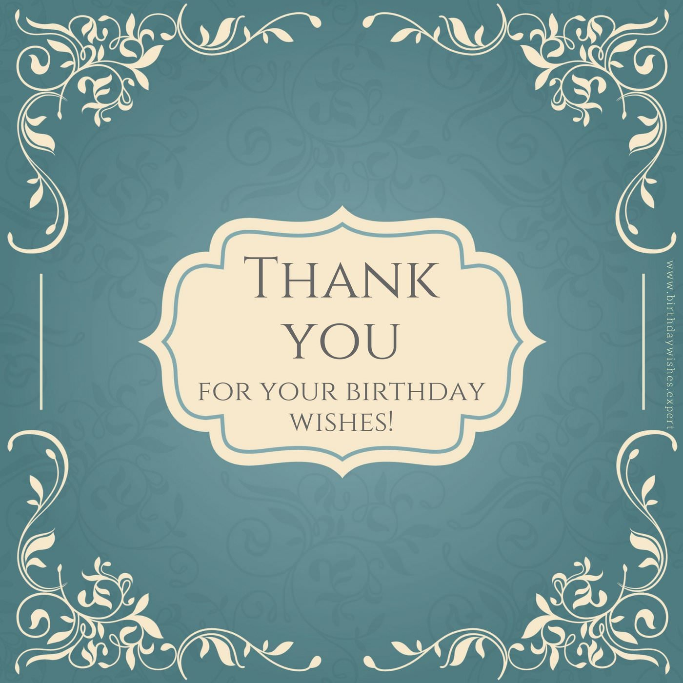 thank you note for birthday card ; Thank-you-note-for-birthday-wishes-on-retro-calligraphy-frame
