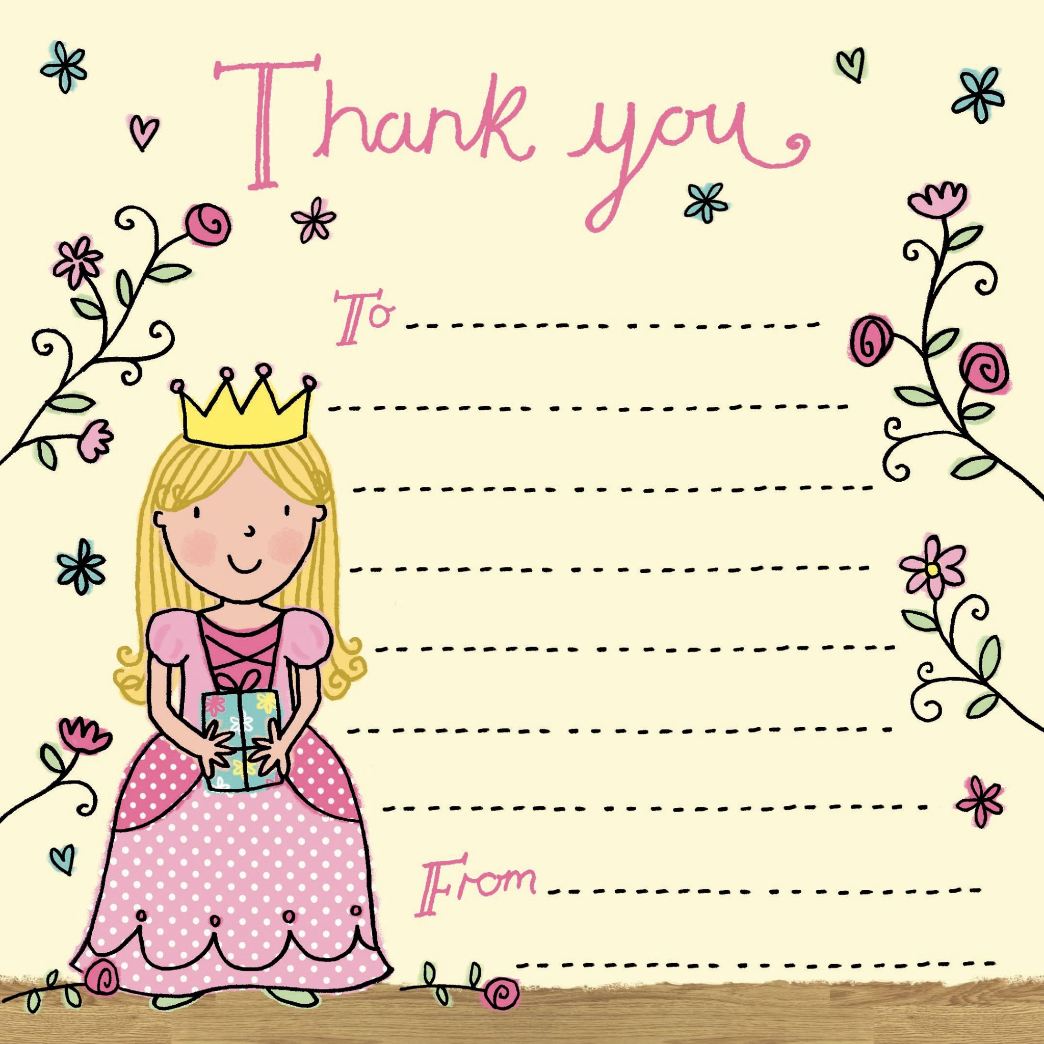 thank you note for birthday card ; princess-thank-you-note-2318-p