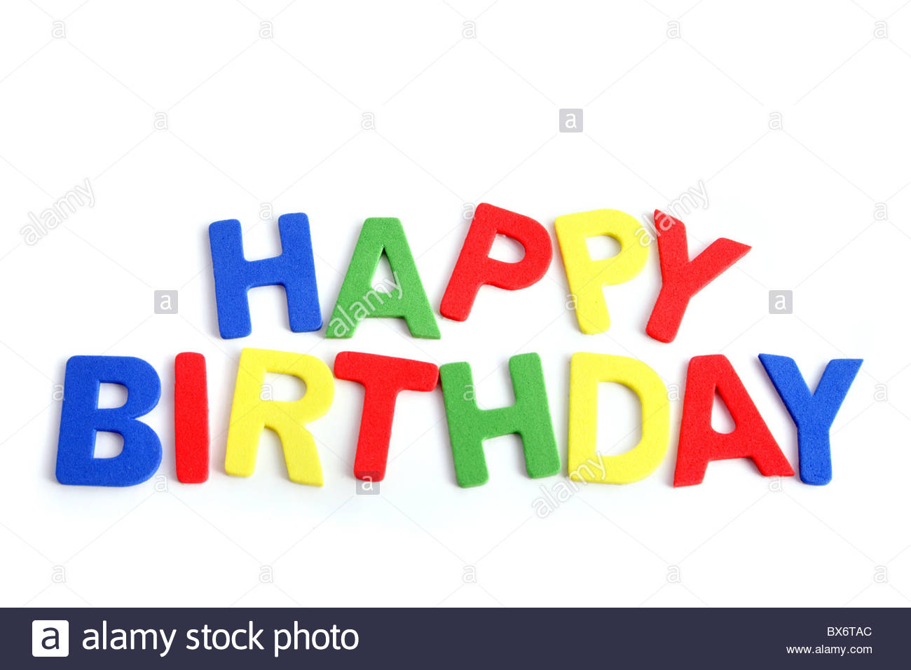 the words happy birthday ; varicolored-letters-building-the-words-happy-birthday-all-isolated-BX6TAC