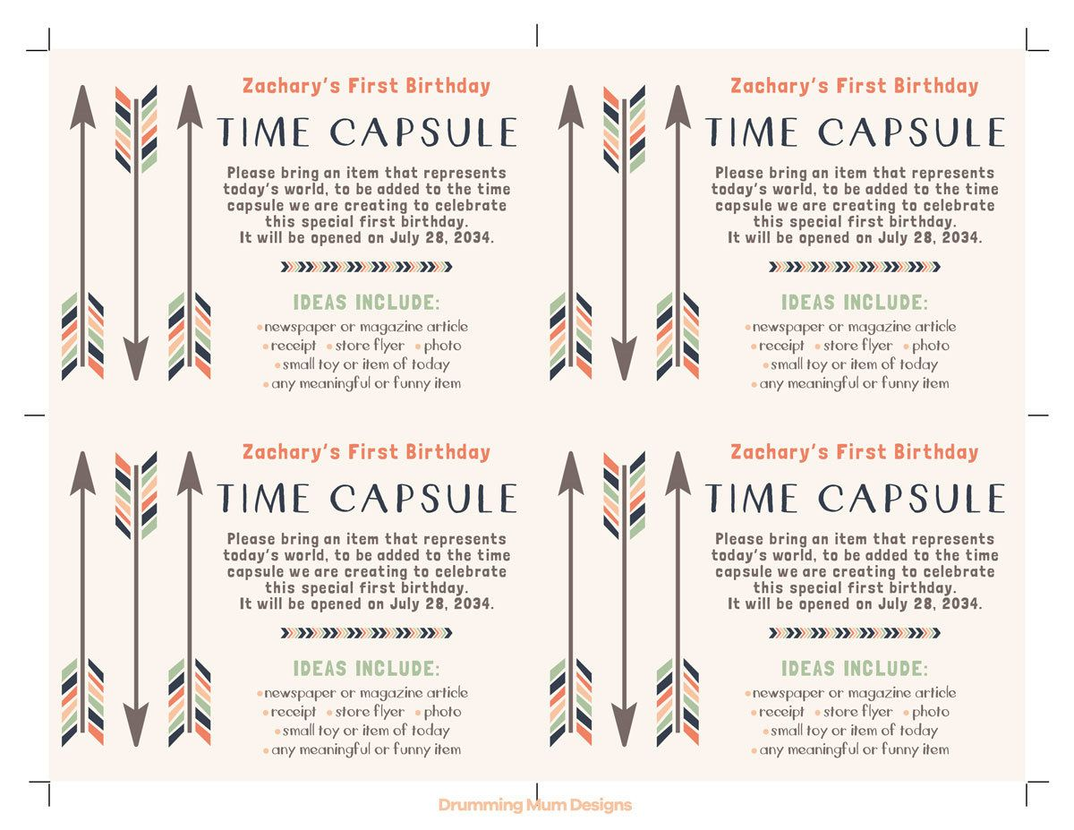 time capsule first birthday invitation ; 3dcb1af83195db3e8ced8eeb5a23be85