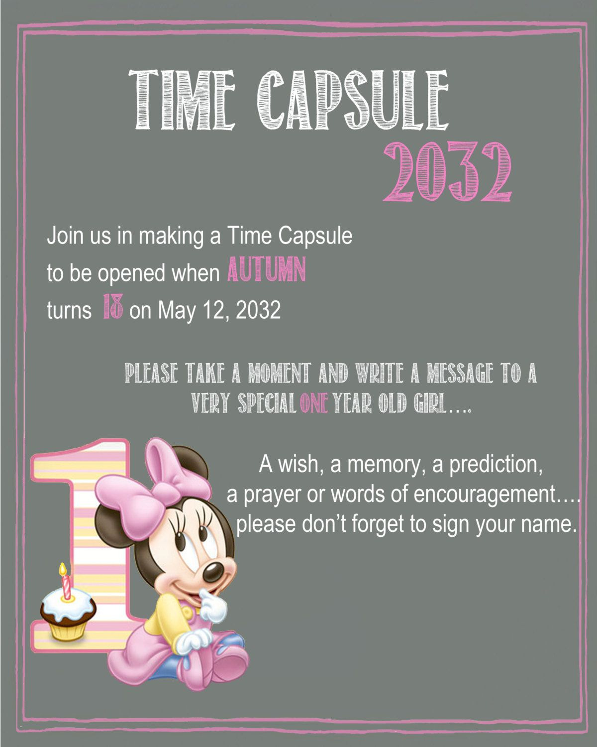 time capsule first birthday invitation ; first-birthday-invitation-card-unique-minnie-mouse-chalkboard-time-capsule-sign-for-a-first-birthday-by-of-first-birthday-invitation-card