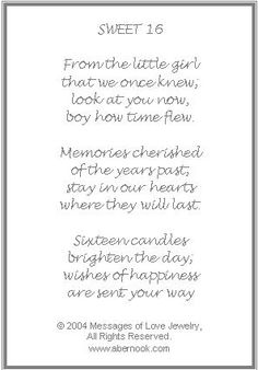 to my daughter on her 16th birthday poem ; 02a02d22588be7030ac91e20539c1c3d--th-birthday-gifts-embossed-cards