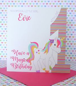 unicorn birthday card ; s-l300