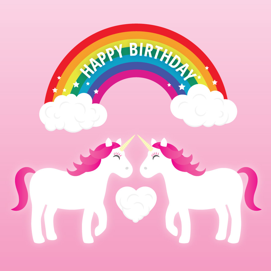 unicorn birthday card ; unicorns-female