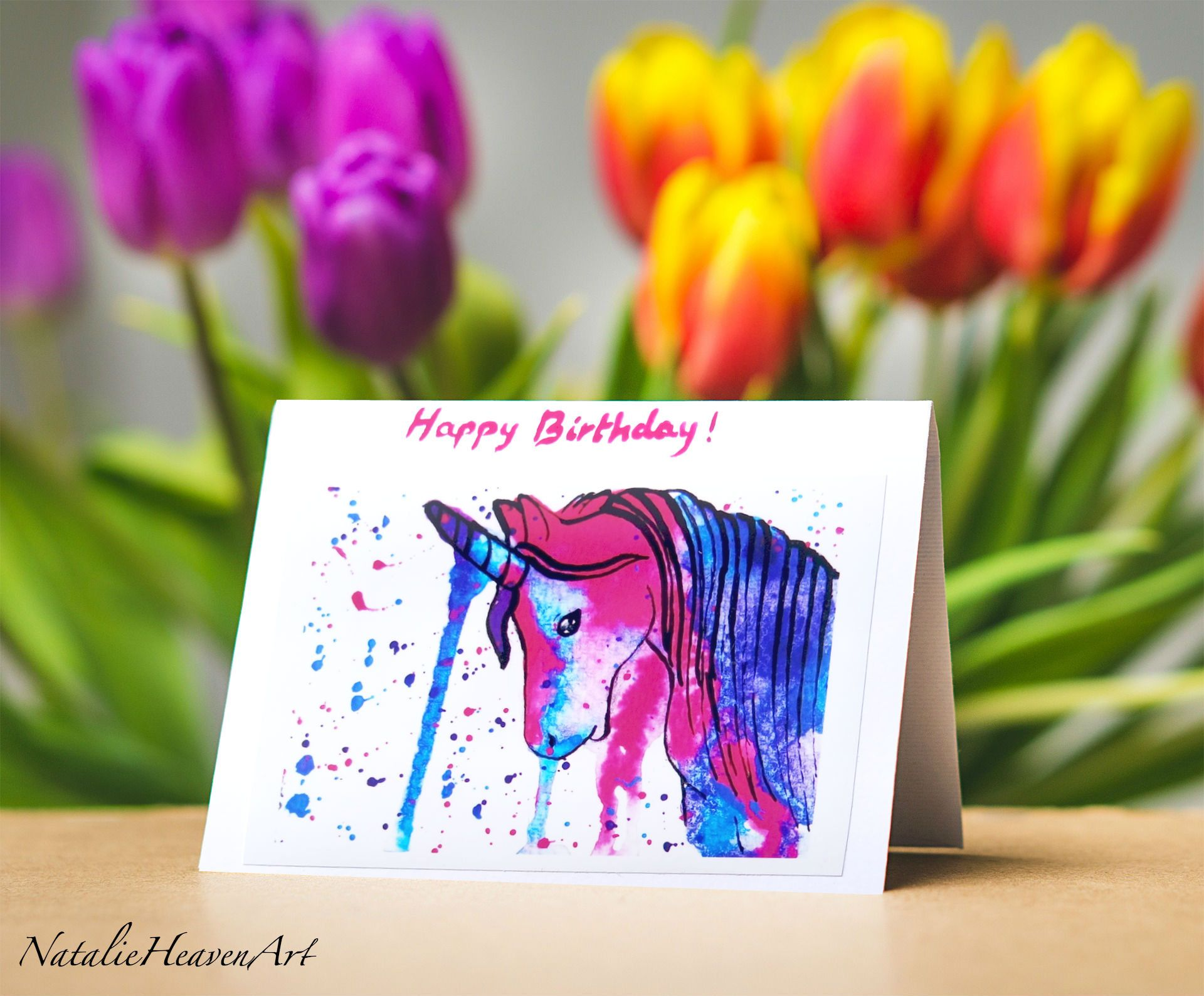 unicorn birthday card daughter ; ce77abadf73a8a58d08bf9590992c417