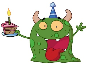 valentine birthday clip art ; a_green_monster_with_a_slice_of_cake_0521-1001-2815-3453_SMU