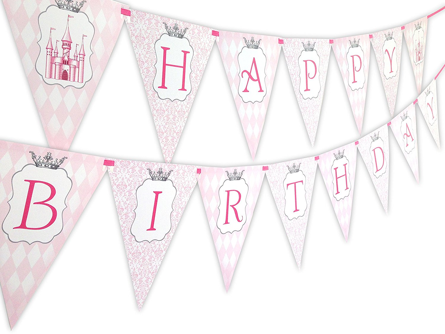 vintage birthday banner ; Princess-Vintage-Happy-Birthday-Banner-Pennant-B01KKUK3TM