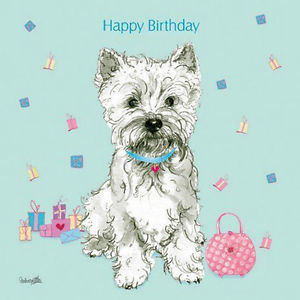 westie birthday card ; s-l300